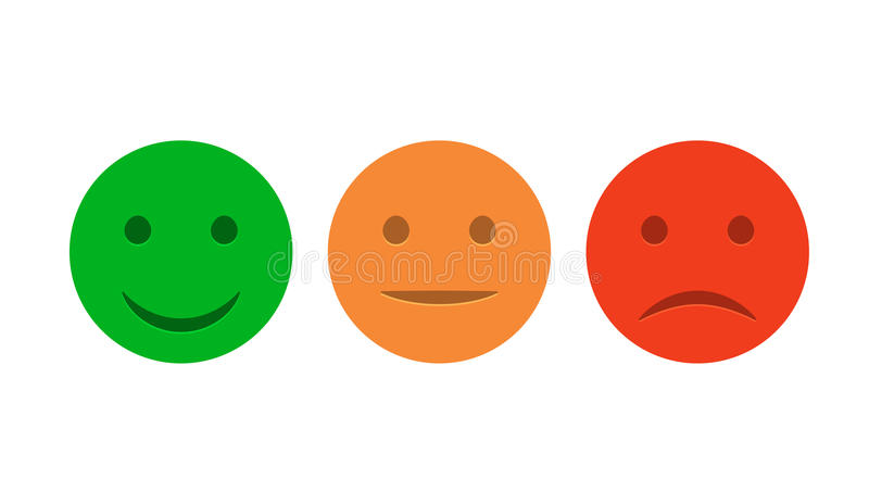 Smiley icon set. Emoticons positive, neutral and negative. Vector isolated red and green mood. Rating smile for customer opinion.  royalty free illustration
