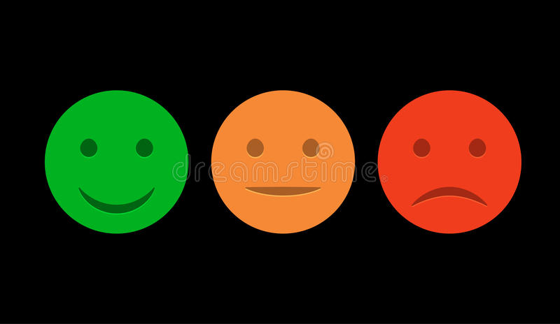 Smiley Icon Set Emoticons Positive Neutral Negative Vector Isolated Red Green Mood Rating Smile Customer Opinion Emoticon Faces Happy Sad Stock