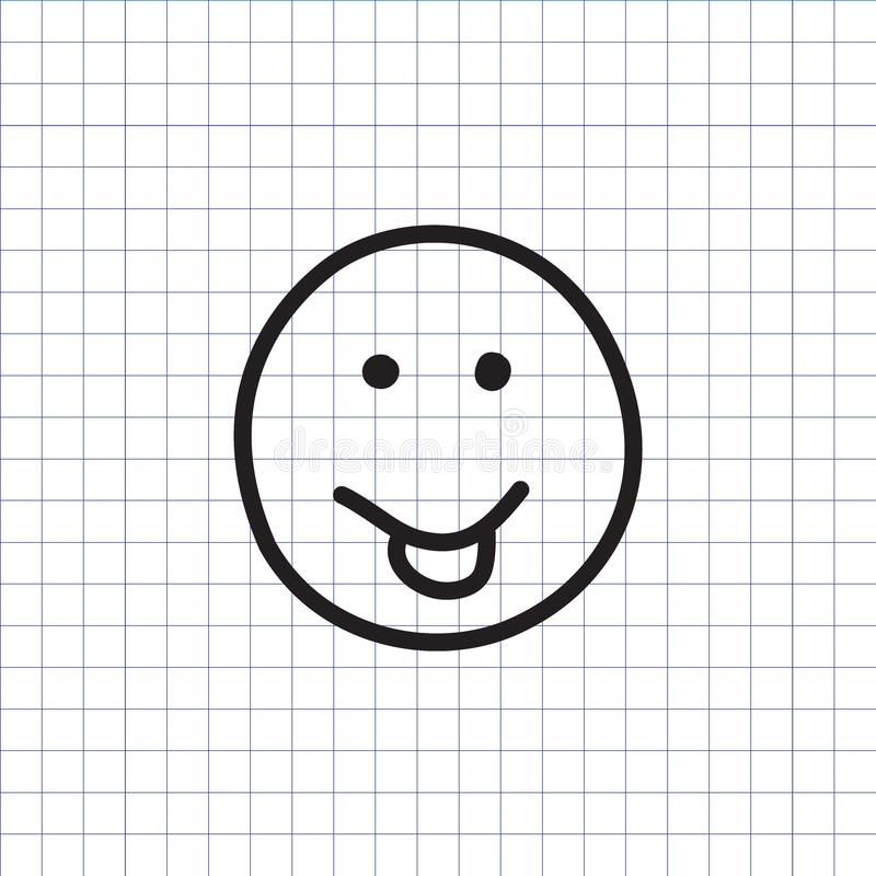 Smiley icon with stuck out tongue. On the exercise book background. Hand drawn face symbol. Vector illustration vector illustration