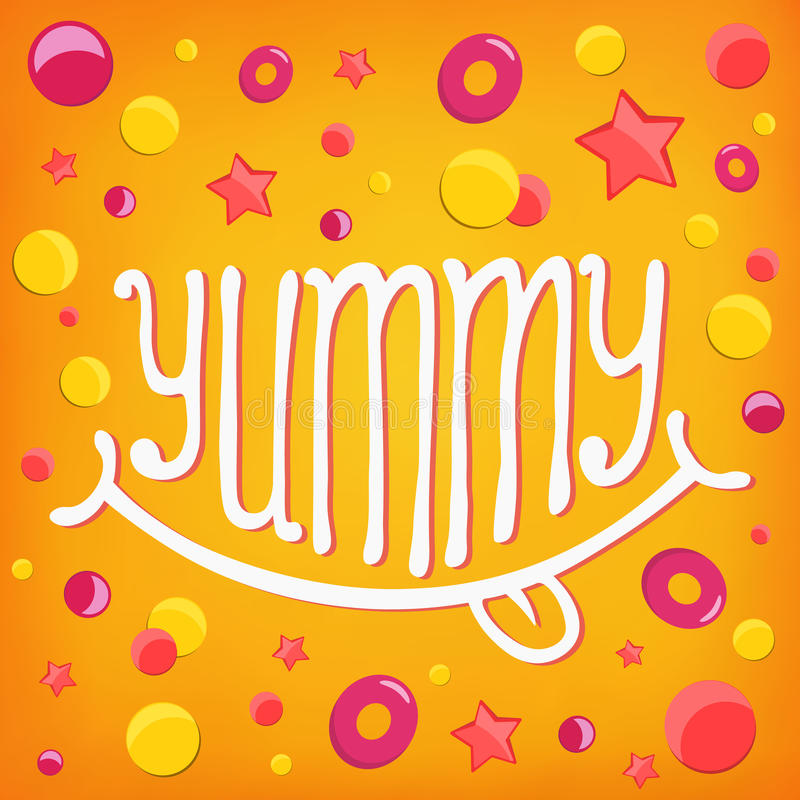 Smiley icon. Yummy lettering concept. Vector illustration vector illustration