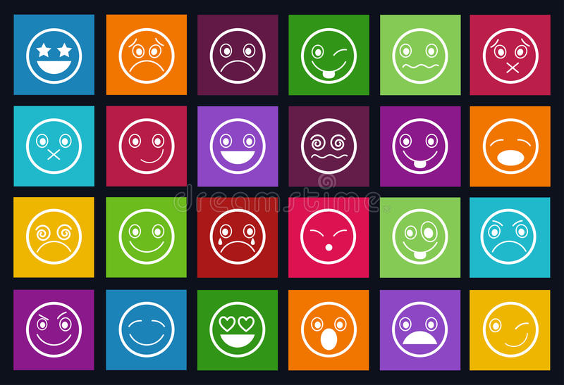 Smiley Icons Design Metro stiluppsättning stock illustrationer