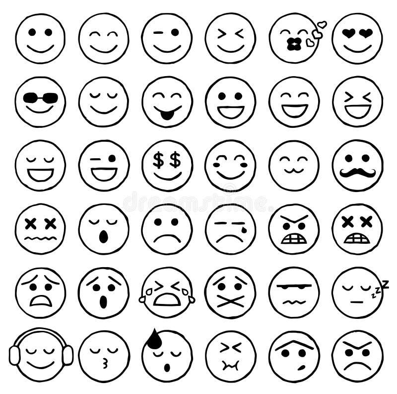 Smiley Icons, Emoticons, Gesichtsausdrücke, Internet stock abbildung