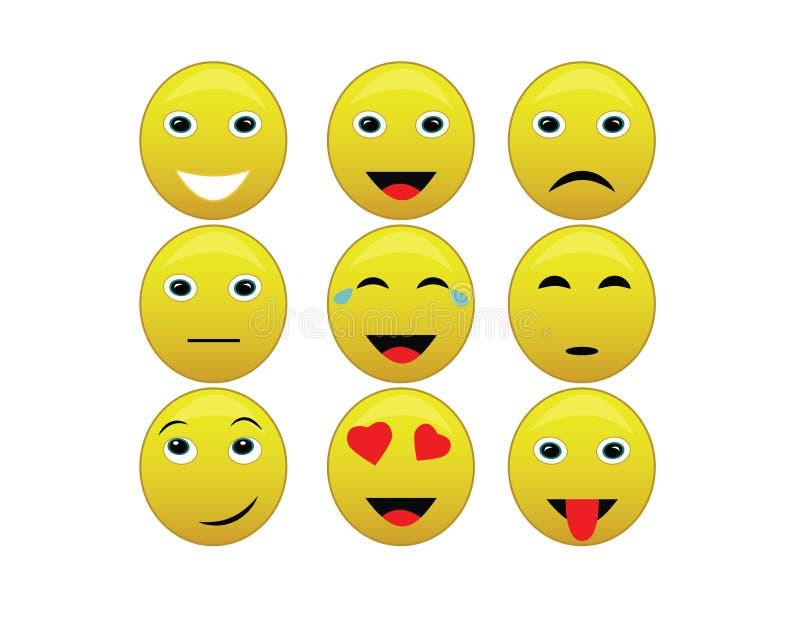 Smiley inkasowy ustawiający z wyrazami twarzy royalty ilustracja