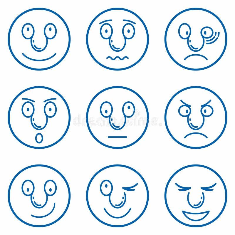 Smiley, jeu d'émoticônes Ensemble d'Emoji Émoticons jeu d'icônes linéaires simples illustration stock