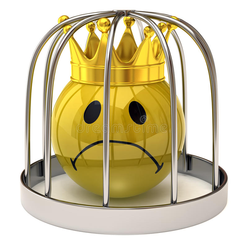 Smiley king in a cage. Isolated on white background vector illustration