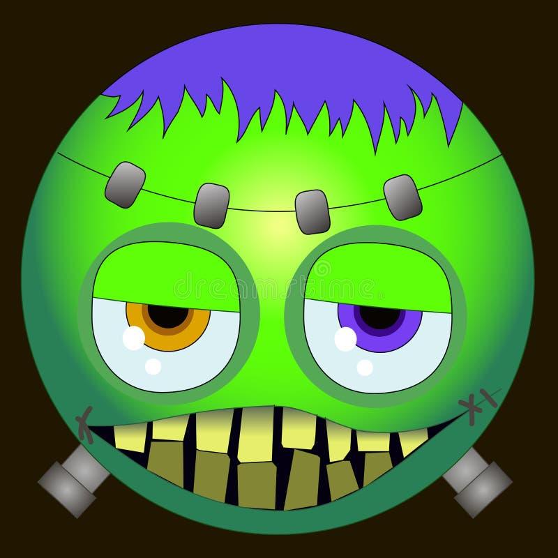 Smiley lindo del emoji del clipart EPS Frankenstein del feliz Halloween libre illustration