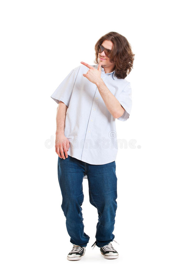 Smiley man pointing at something royalty free stock photos