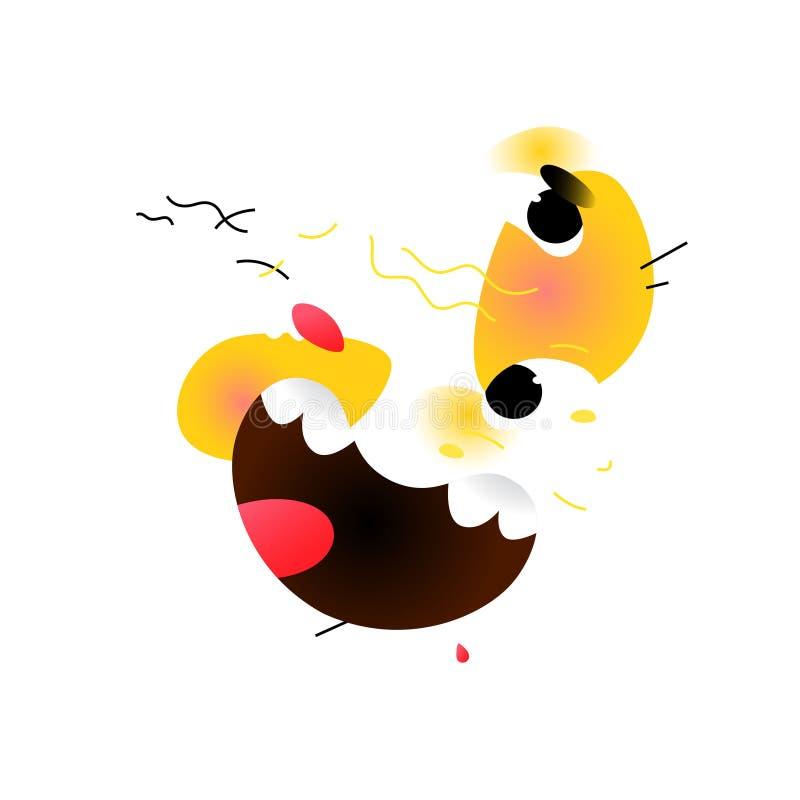 smiley Maschera astratta Vettore Arte moderno Avanguardia, cubismo Graffiti sulla parete Manifesto, pittura interna Emoji giallo royalty illustrazione gratis