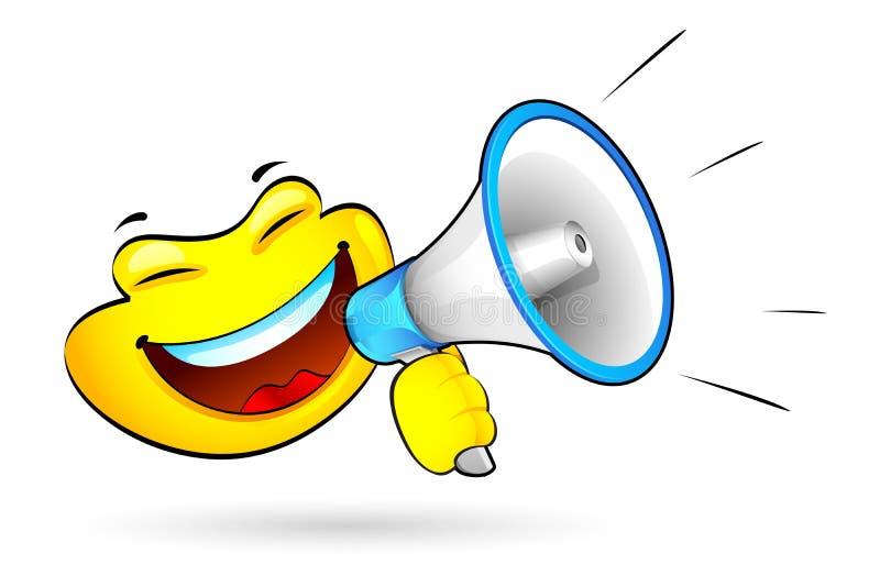 Smiley met Megafoon vector illustratie