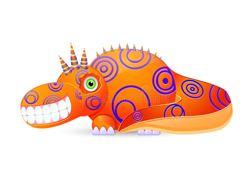 Smiley Monster con i corni su bianco illustrazione di stock