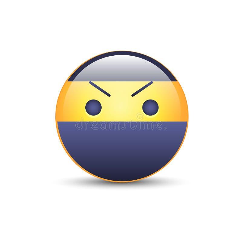 Smiley ninja z gniewną emoji twarzą Ninja kreskówki emoticon wektoru ikona ilustracja wektor