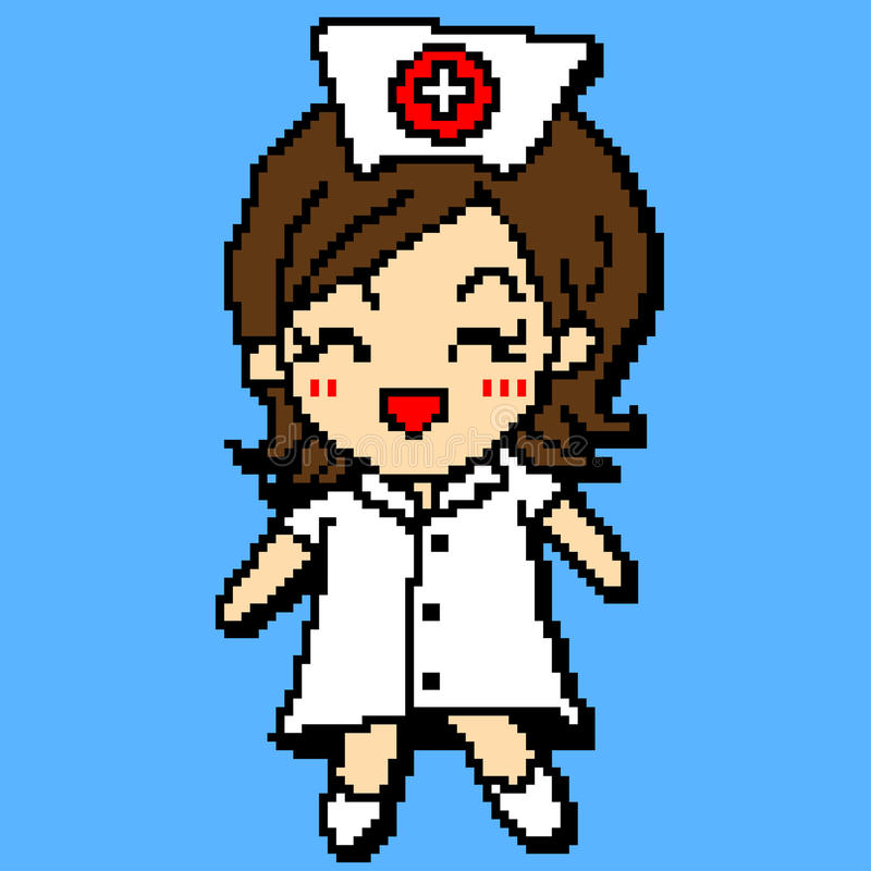 Smiley Nurse in Pixel art style royalty free stock photography