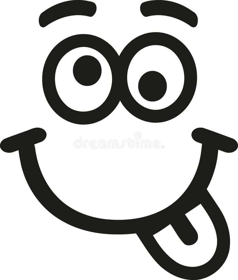 Smiley pazzo con la lingua e le sopracciglia royalty illustrazione gratis
