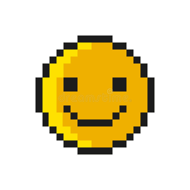 Smiley Pixel Art Style på vit bakgrund vektor stock illustrationer