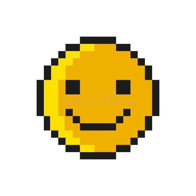 Smiley Pixel Art Style on White Background. Vector. Illustration stock illustration