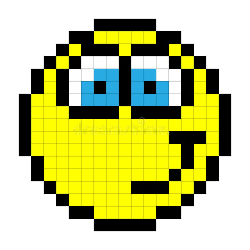 Smiley Pixel Art Style On White Background Vector