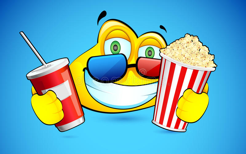 Smiley with Pop Corn and 3d Goggles vector illustration