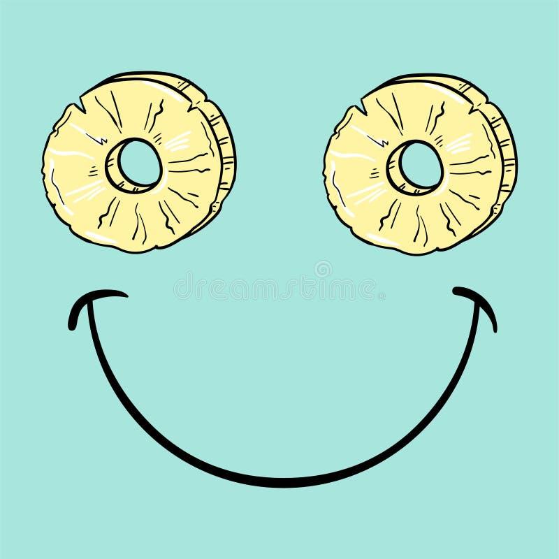 Smiley positivo con la rebanada de piña ilustración del vector