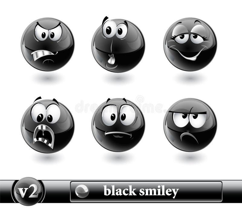 Smiley preto. vol2 ilustração do vetor