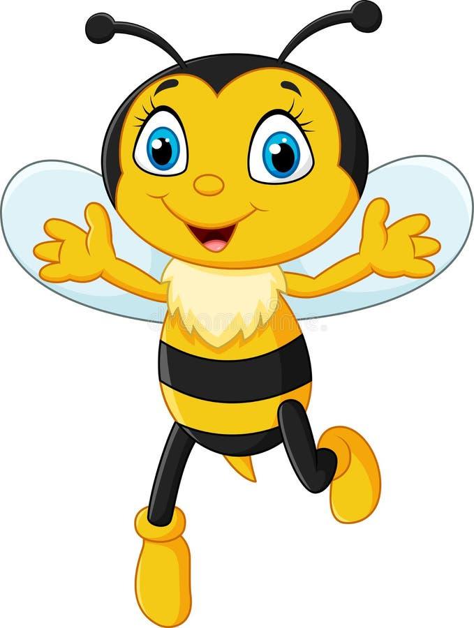 Smiley pszczoły latanie odizolowywający na białym tle ilustracji