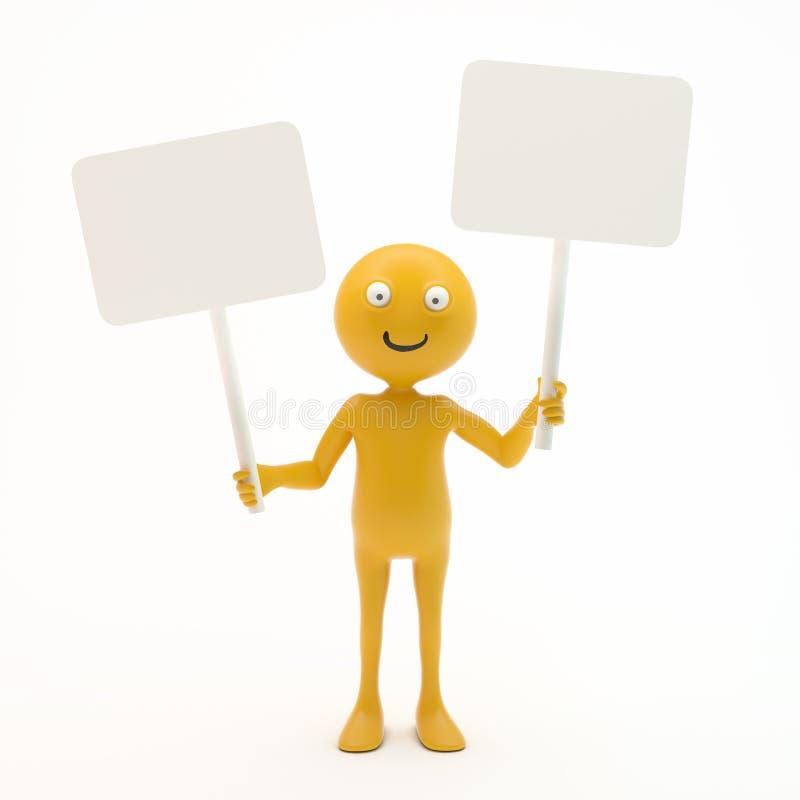 Smiley que lleva a cabo una muestra ilustración del vector