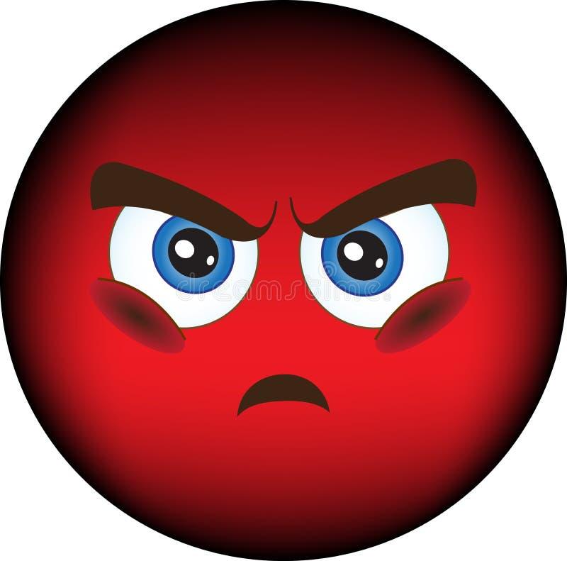 Smiley, ressentiment, colère illustration de vecteur
