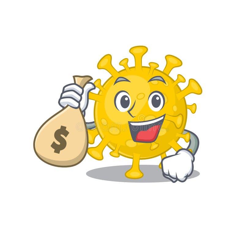 Smiley Corona Virus Character With Gift Box Stock Vector