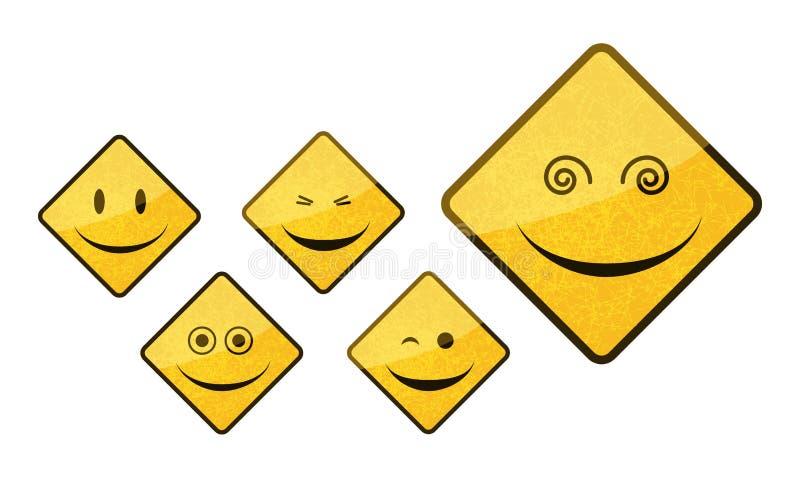 Smiley road sign icon set. Isolated on white background stock illustration