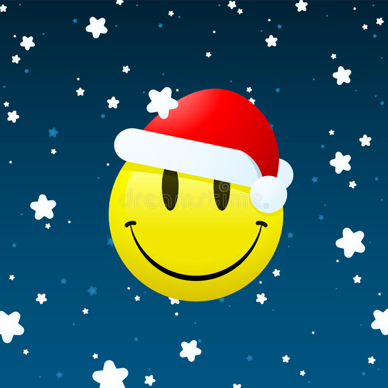 Download Smiley Santa On Snowing Background Stock Vector - Image: 6975214