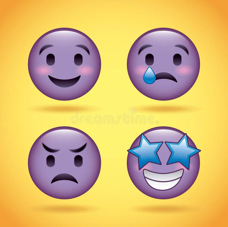 Smiley set purple face with emotions facial expression funny cartoon character stock illustration