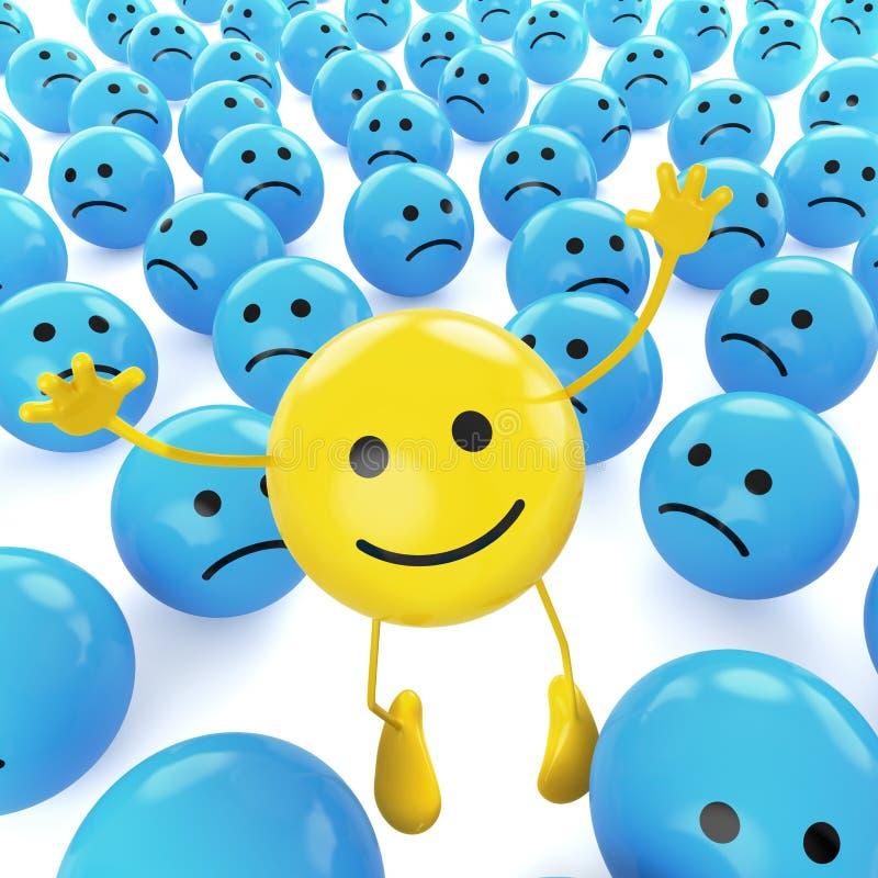 smiley skokowy smutny kolor żółty ilustracja wektor
