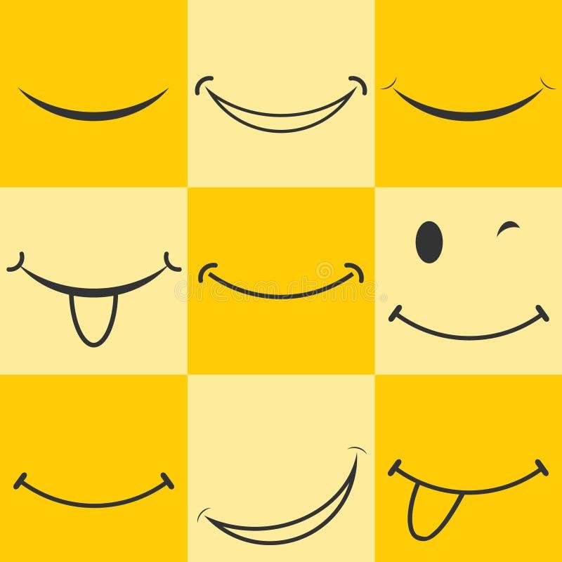 Smiley, smileypictogram Geanimeerde glimlach Smileyembleem op een gele achtergrond vector illustratie