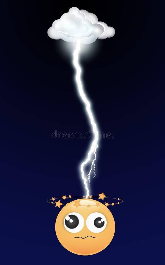 Smiley strike by lightning royalty free stock image