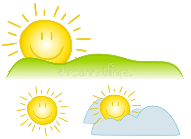 Smiley Sun Clip Art. An illustration featuring an assortment of smiley face sun clip art with simple lines and bright colours vector illustration