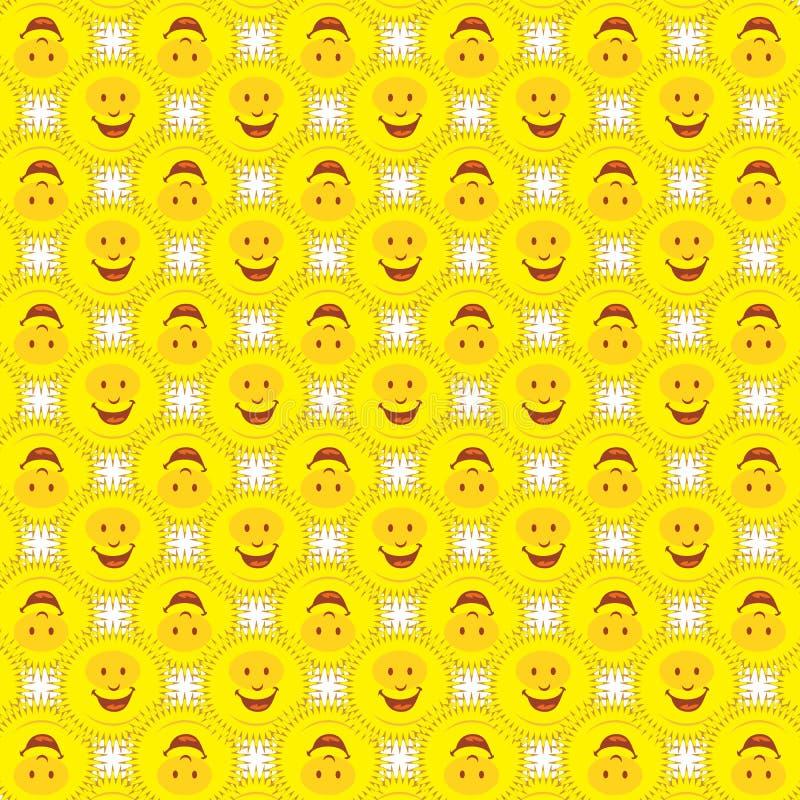 Smiley Sunshine Sun Faces Funny Pattern Background vector illustration