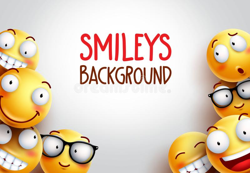 Smiley tła wektorowy projekt z żółtymi emoticons royalty ilustracja
