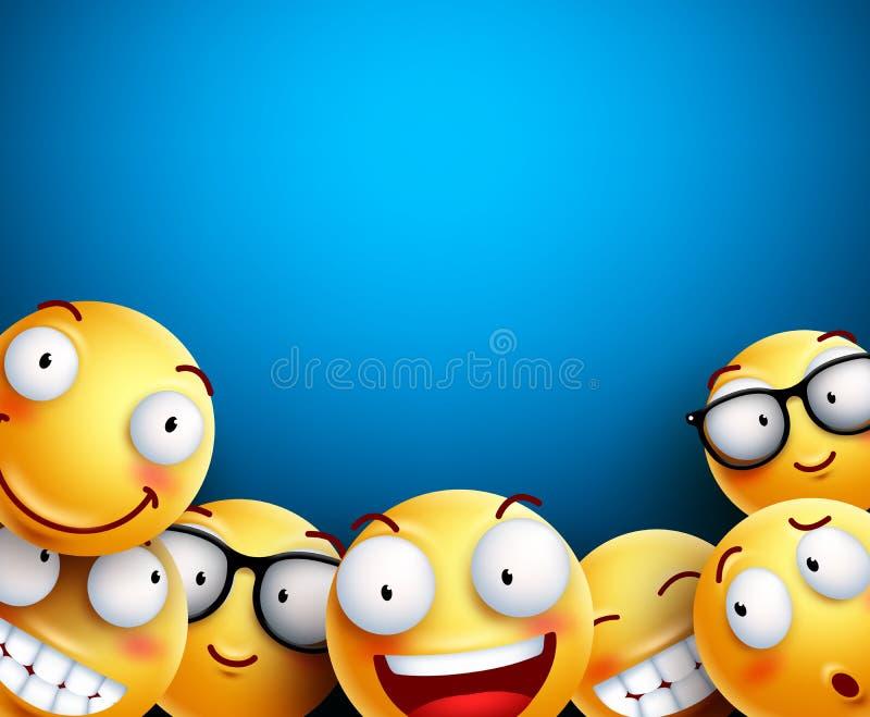 Smiley tła wektoru ilustracja Żółci emoticons ilustracji