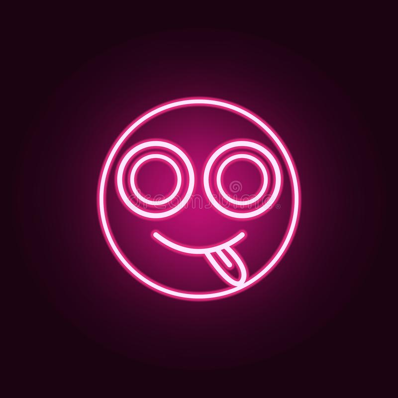Smiley with tongue out icon. Elements of Web in neon style icons. Simple icon for websites, web design, mobile app, info graphics. On dark gradient background stock illustration