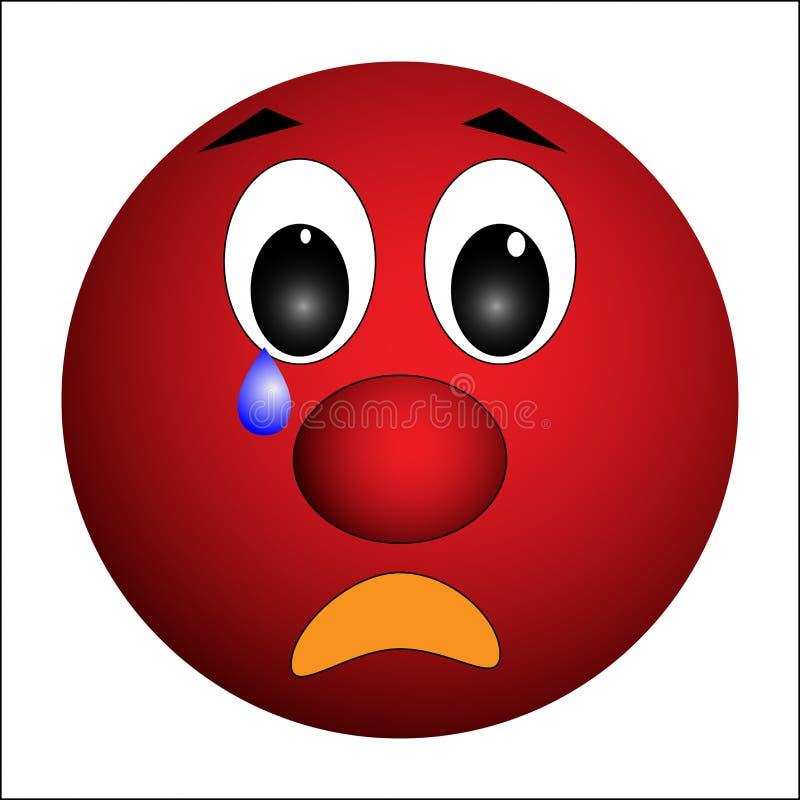 Smiley, triste avec une larme sur sa joue illustration de vecteur