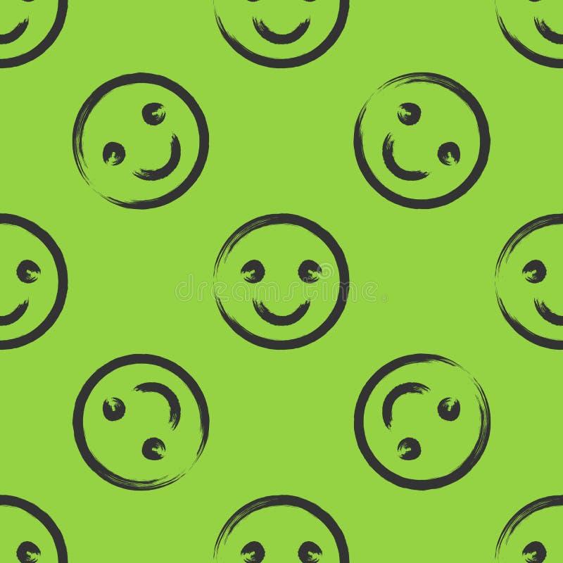 Smiley twarz rysująca z muśnięciem bezszwowy wzoru Zieleń, czerń royalty ilustracja