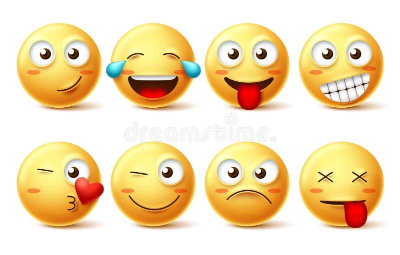 Smiley twarz wektoru set Smileys żółty emoji z szczęśliwymi, śmiesznymi, całują, roześmianymi i zmęczonymi wyrazami twarzy, royalty ilustracja