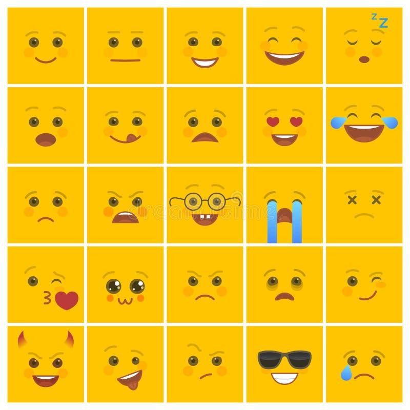 Smiley twarze z wyrazami twarzy na kolorze żółtym royalty ilustracja