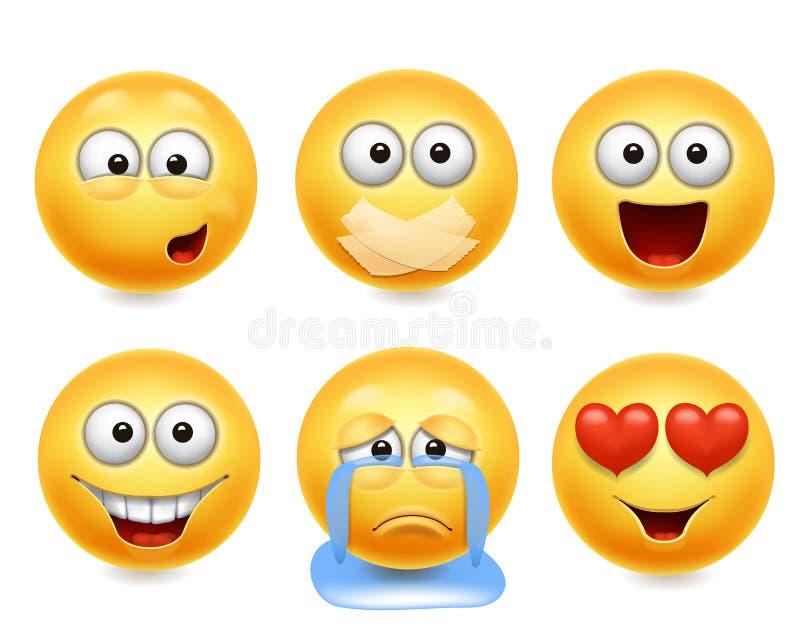 Smiley twarzy ikony Śmieszny twarzy 3d realistyczny set Śliczna żółta wyraz twarzy kolekcja 2 royalty ilustracja