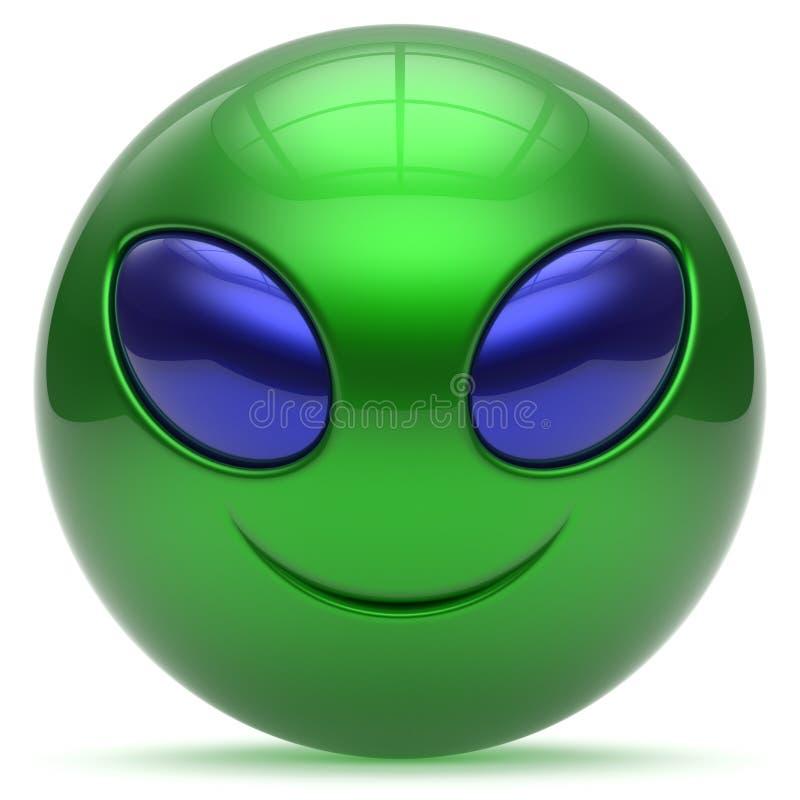 Smiley twarzy kreskówki głowy emoticon potwora piłki obca zieleń ilustracja wektor