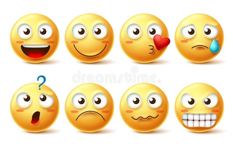 Smiley twarzy wektorowy charakter - set Smiley emoji z różnym wyrazem twarzy i emoticons royalty ilustracja