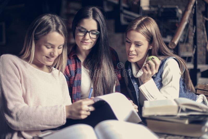 Smiley uczni dziewczyny czyta kartotekę zdjęcie royalty free