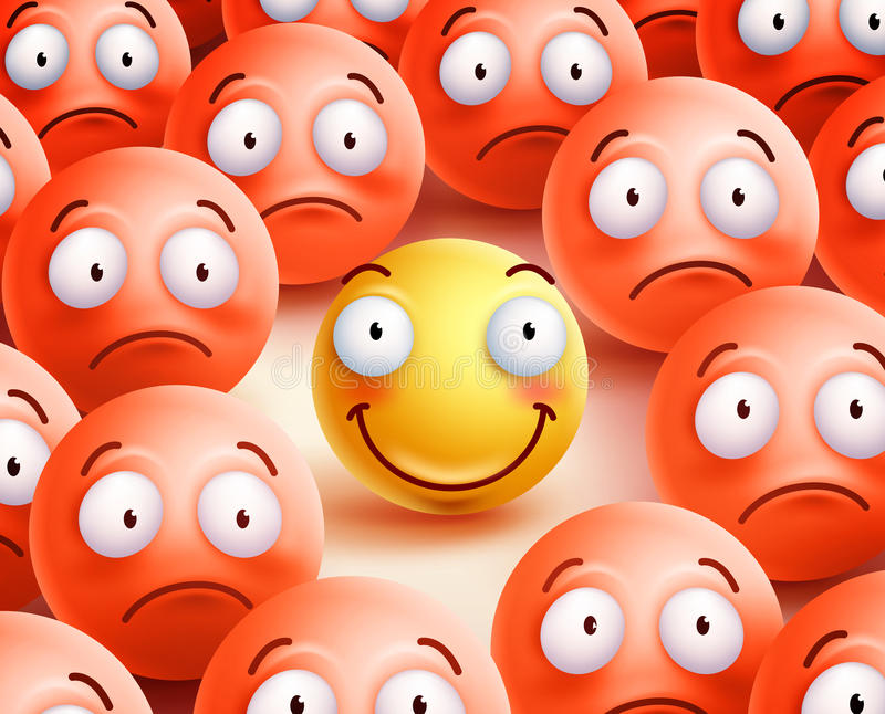 Smiley vector character the only smile face showing happiness. And positivity in the crowd of unhappy smileys. Vector illustration royalty free illustration