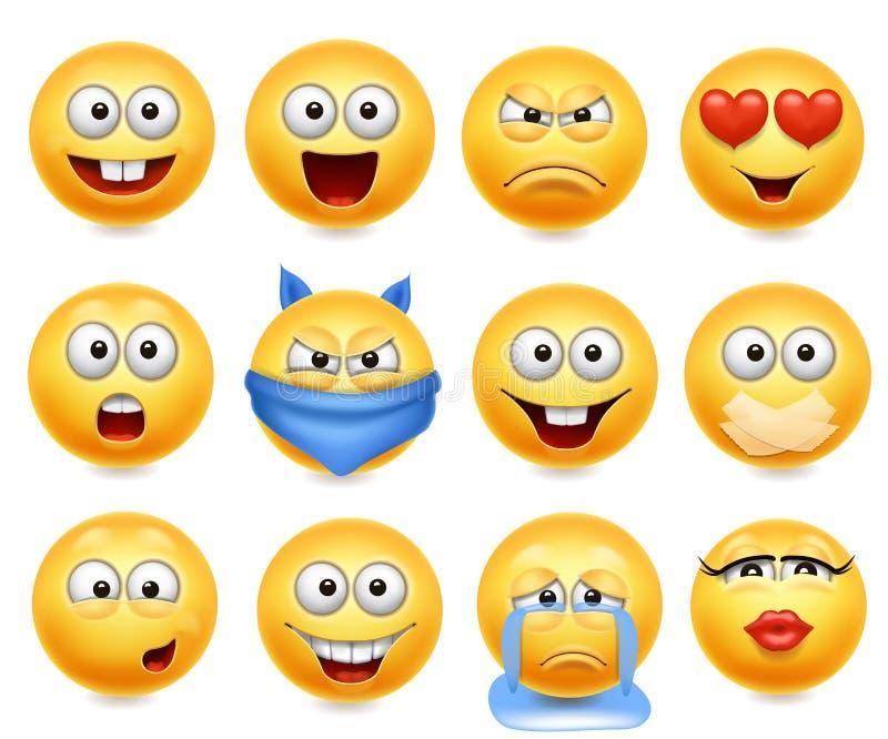 Smiley vector Satz Smileygesichter mit Gesichtsausdrücken Glücklicher, liebevoller Schrei und verwirrt vektor abbildung