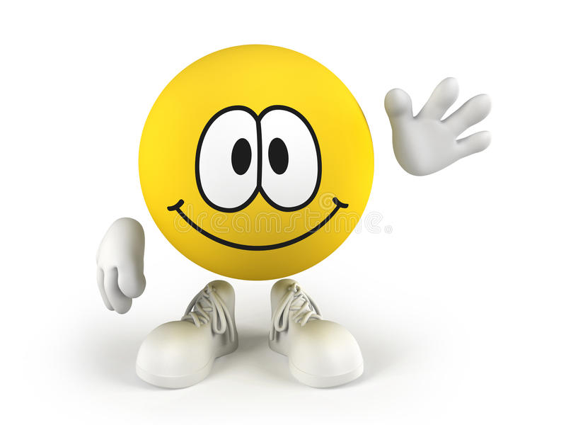 Smiley waving a hand. Happy smiley face waving a hand. Isolated on a white backgorund vector illustration