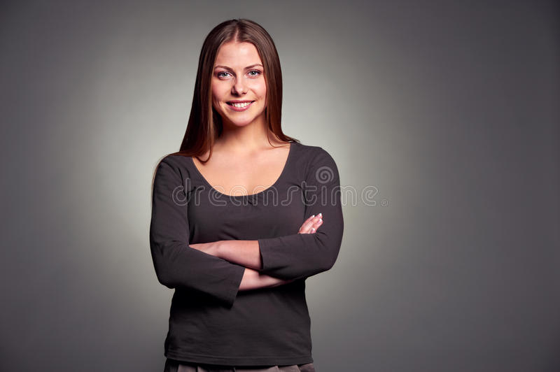 Download Smiley Woman With Folded Hands Stock Image - Image: 28654923